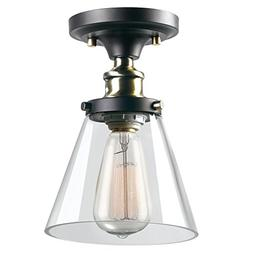 Globe Electric 1-Light Industrial Flush Mount Light Fixture,