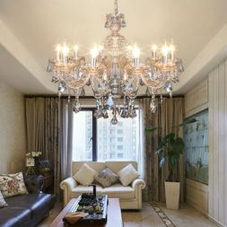 10 Arms Chandelier K9 Crystal Glass Ceiling Light E12 Pendan