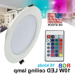 10W RGB LED Ceiling Light Fixtures Recessed Panel Downlight