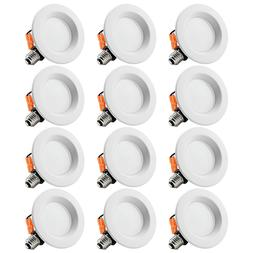 12 Pack 4 inch LED Ceiling Light Fixture, 10W Dimmable Reces