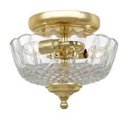 Crystorama 2 Light Polished Brass Lead Crystal Ceiling Mount