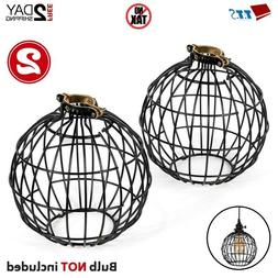 2 Rustic Wire Light Bulb Guard Cage Pendant Shades Ceiling L