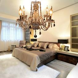 4 Arms Chandelier Crystal Glass Ceiling Light E12 Pendant La
