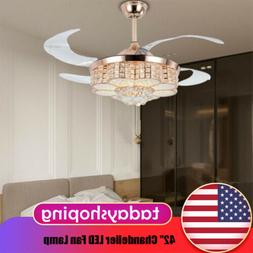 "42"" Chandelier LED Fan Lamp Retractable Dimmable Light Ceili"