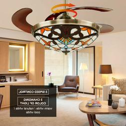 "42"" Classical Retractable Ceiling Fan Light 3 Color Change L"