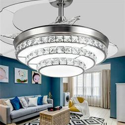 42'' Crystal Acrylic Blade Ceiling Fan Light Lamp With Remot