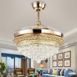 "42"" Gold Crystal Ceiling Fan Light LED Chandelier W/ Retract"