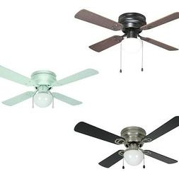 42 Inch Flush Mount Hugger Ceiling Fan w Light Kit Satin Nic