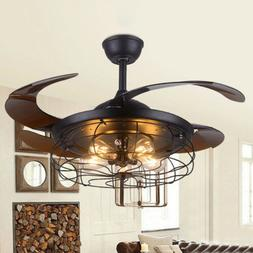 "42"" Industrial Ceiling Light Vintage Ceiling Fan with 5 Ligh"