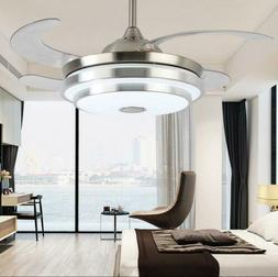 "42"" Invisible Bluetooth LED 3-Color Ceiling Fan Light Chande"