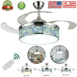 42'' Modern Ceiling Fan Light LED Dimmable Retractable Blade