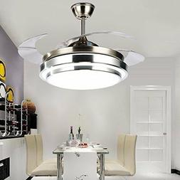 "42"" Invisible Ceiling Fan with LED Light Kit Remote Modern C"