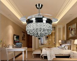 "42"" Silver Crystal Ceiling Fan Chandelier w/ Led Light Remot"