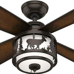 """52"""" Bronze Lodge Style Ceiling Fan Transitional LED Wildlife"""