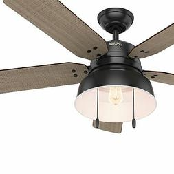 "Hunter 52"" Mill Valley Matte Black Outdoor Damp Rated LED Li"