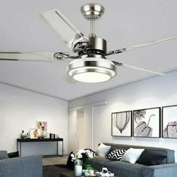 """52"""" Modern Ceiling Fan Light Remote Control 5 Stainless Stee"""