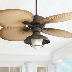 """52"""" Tropical Outdoor Ceiling Fan with Light LED Bronze Wet R"""
