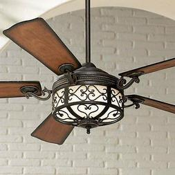 """54"""" Rustic Outdoor Ceiling Fan with Light LED Remote Golden"""