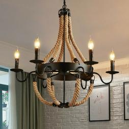 Rustic Rope 6 Lights Chandelier Candle Pendant Lamp Island F