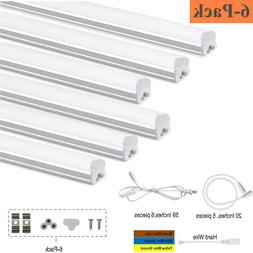 6 Pack LED Shop Light 4FT 6500K T5 Integrated Bright Ceiling