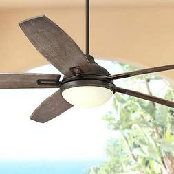 """72"""" Rustic Outdoor Ceiling Fan with Light LED Bronze Wet Rat"""
