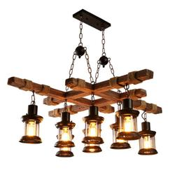 8 Heads Wood Chandelier Iron Ceiling Lamp Industrial Rustic
