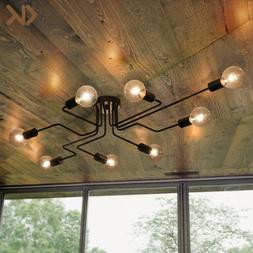8-Light Industrial Ceiling Light Steampunk Semi Flush Mount