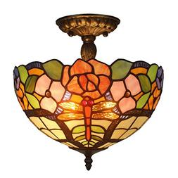 Amora Lighting AM050CL12 Tiffany Style Ceiling Lamp Fixture