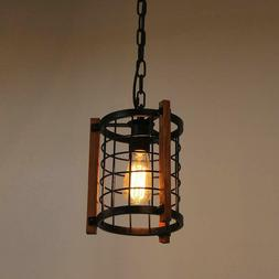 Cage Pendant Light, Rustic Chandelier Foyer Hanging Lamp Cei
