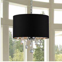 Crystal Chandelier with Shade Drum 3 Light Pendant Ceiling L