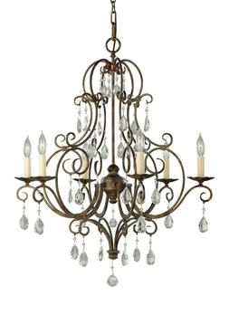Feiss F1902/6MBZ Chateau Crystal Candle Chandelier Lighting,