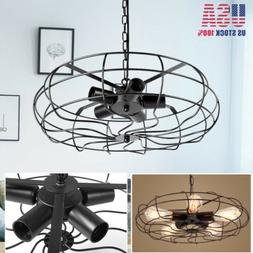 Fan Cage Pendant E27 Lamp Industrial Semi Flush Mount Ceilin