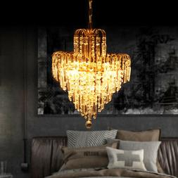 Gold Chandelier Crystal Ceiling Fixtures 4 Lights For Bedroo