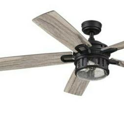 """Grey Rough Pine 52"""" Black LED Light Ceiling Fan with Remote"""