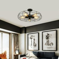 Industrial Metal Fan Cage Pendant Lamp Semi Flush Mount Ceil