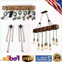 Industrial Rustic Chandelier Pendant Light Ceiling Lamp Isla