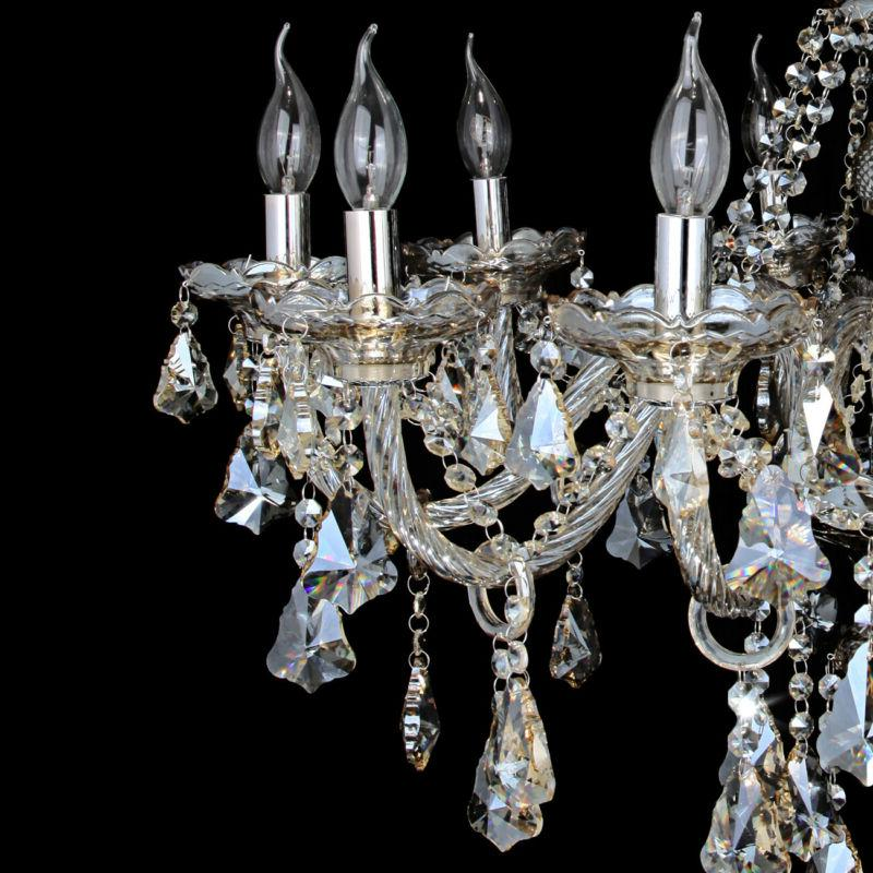 10 Arms Crystal Glass Chandelier Light E12 Lamp Color