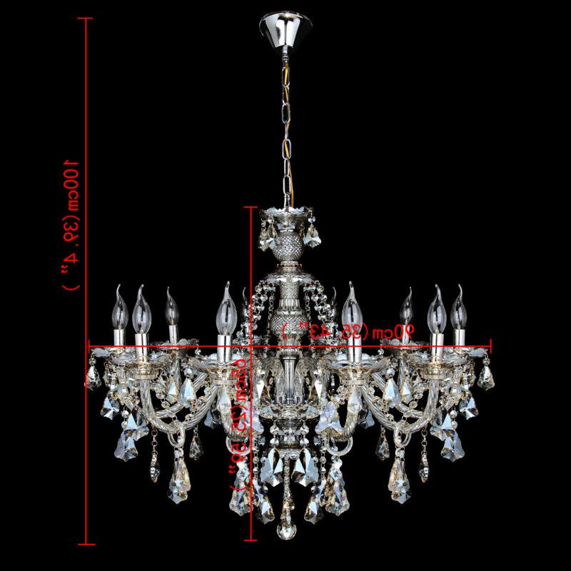 10 Arms K9 Glass Chandelier Ceiling Light E12 Cognac Color