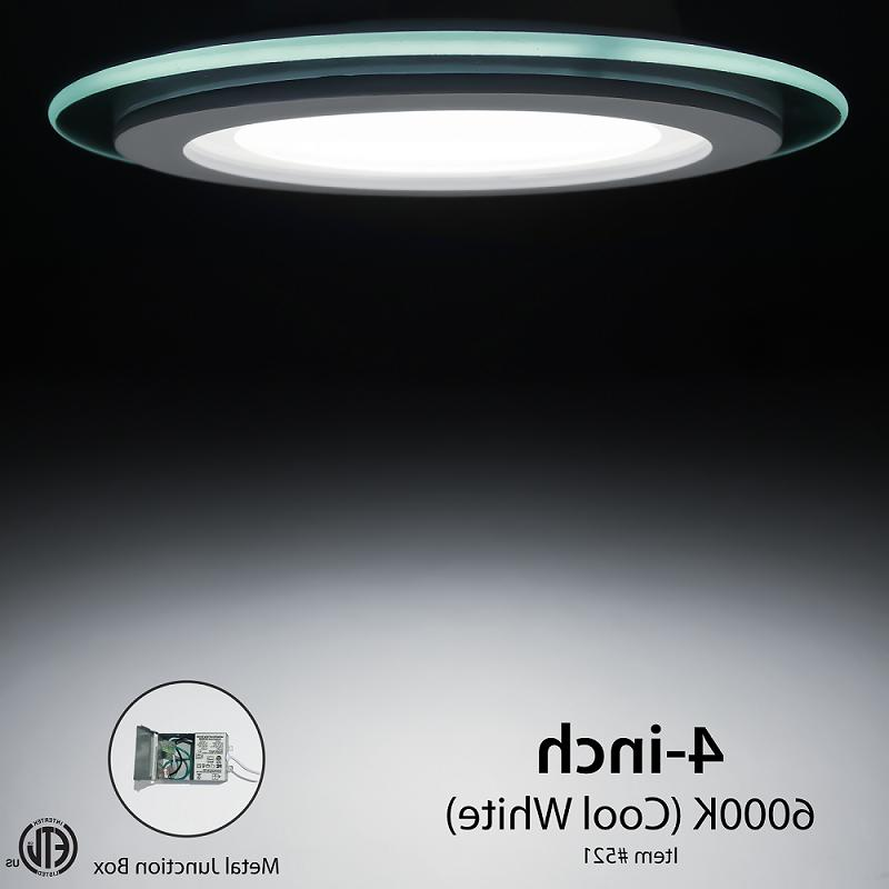 4 inch round glass LED dimmable recessed ceiling light - ETL