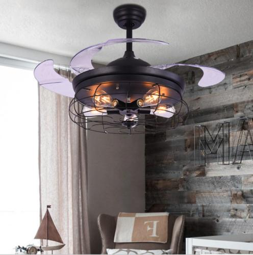 """42"""" Industrial Ceiling Fan Light Invisible Blade Lamp Chande"""