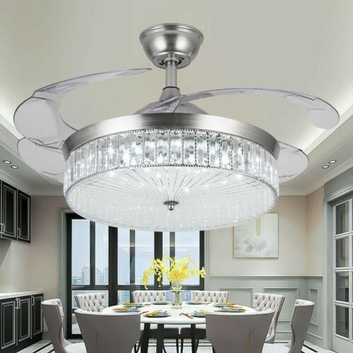 42 silver crystal invisible ceiling fan light