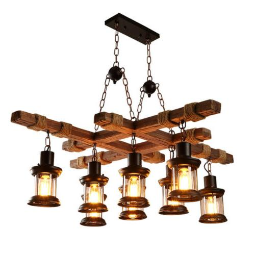 8 heads wood chandelier iron ceiling lamp