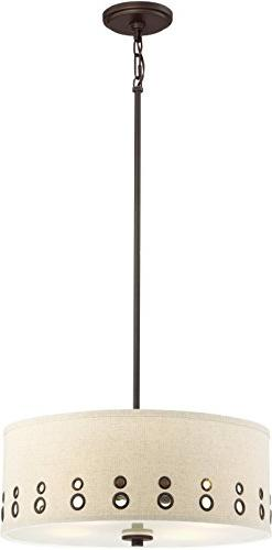 Quoizel Brown Hanging Pendant Ceiling Light with Beige Linen