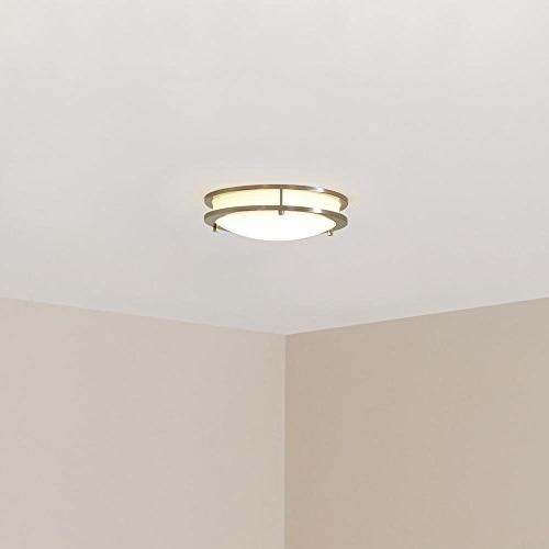 Hampton Bay HB1023-35 Nickel LED Flush mount with Frosted White Shade