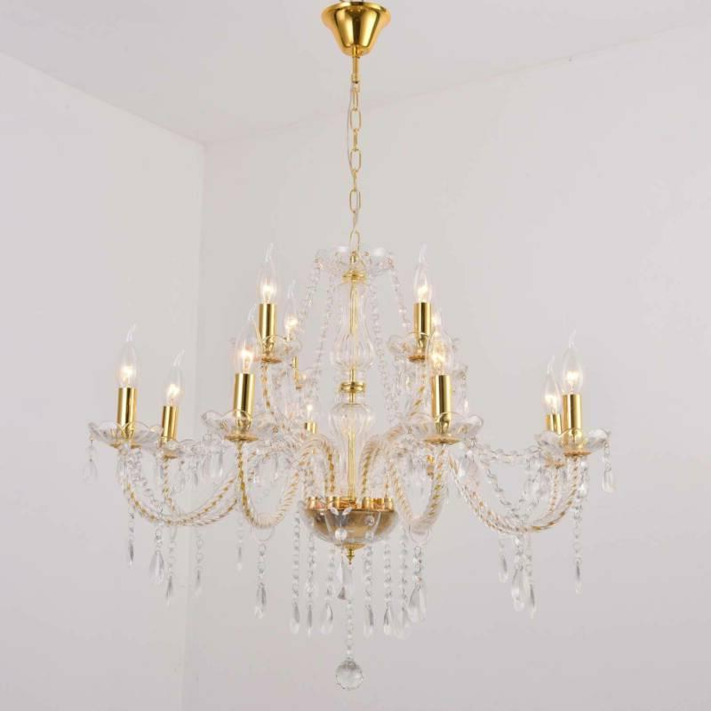 Elegant Glass Chandelier Pendant Ceiling Lighting 6-12 Light