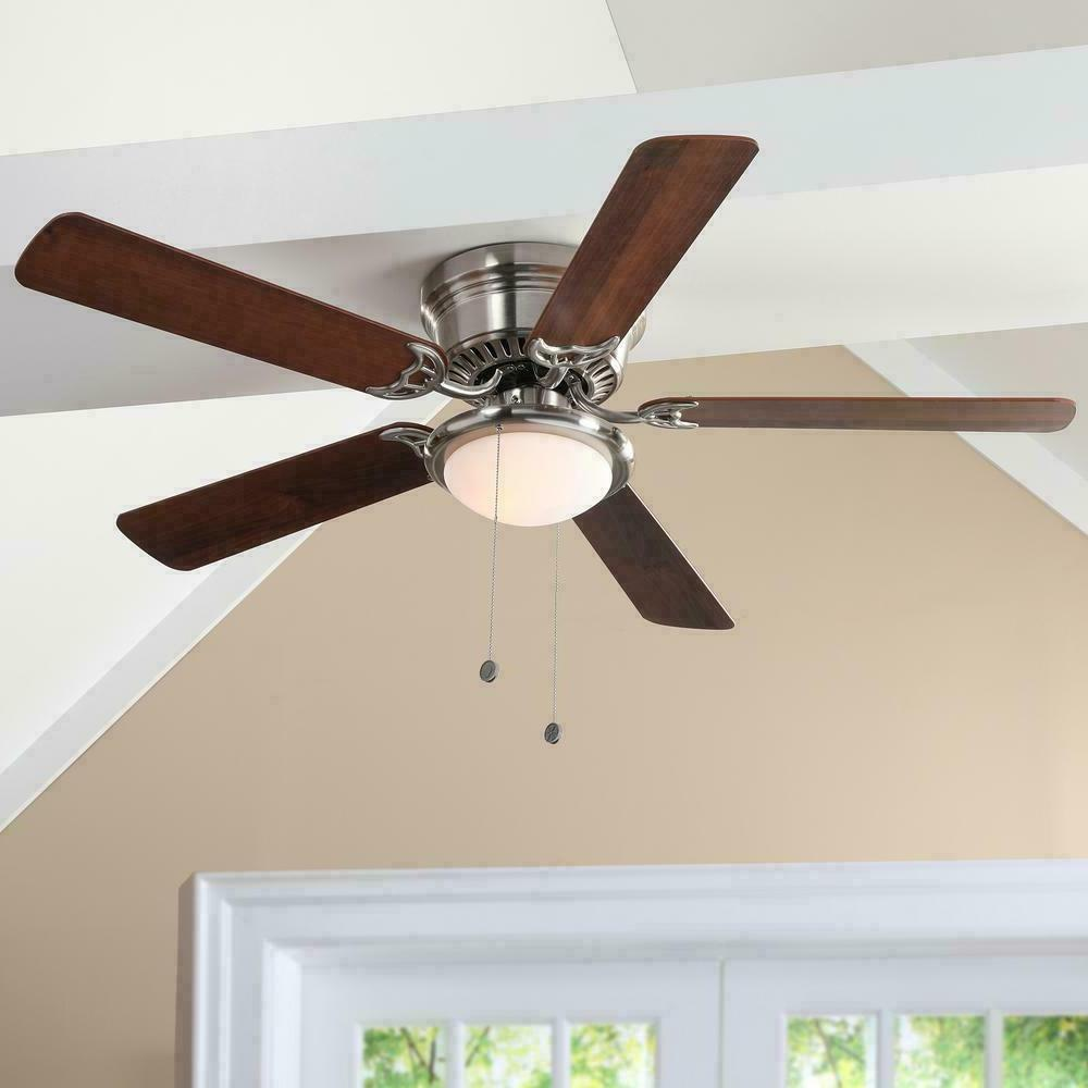 indoor brushed nickel ceiling fan with led