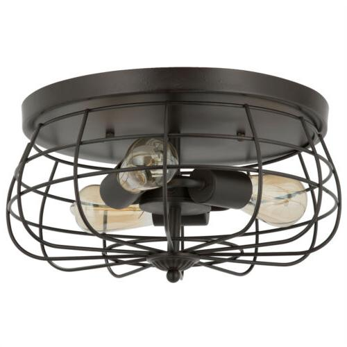 15 inch Industrial 3-Light Vintage Metal Cage Flush Mount Ce