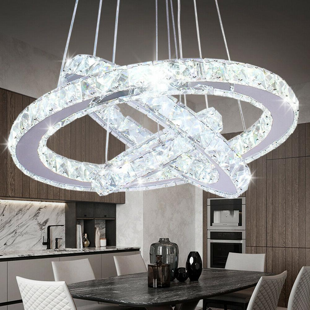 modern led chandeliers crystal pendant lamp round