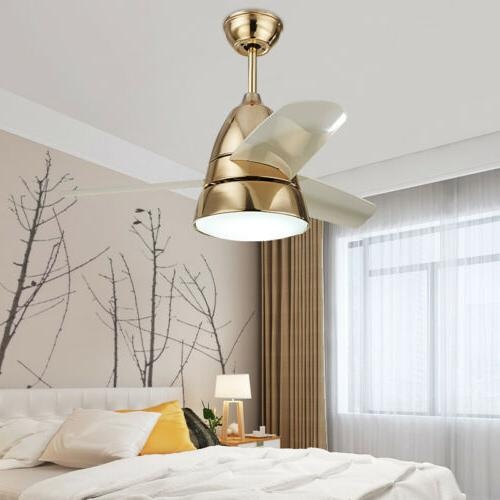 Modern Metal Brushed Brass Ceiling Fan with LED Ceiling Ligh