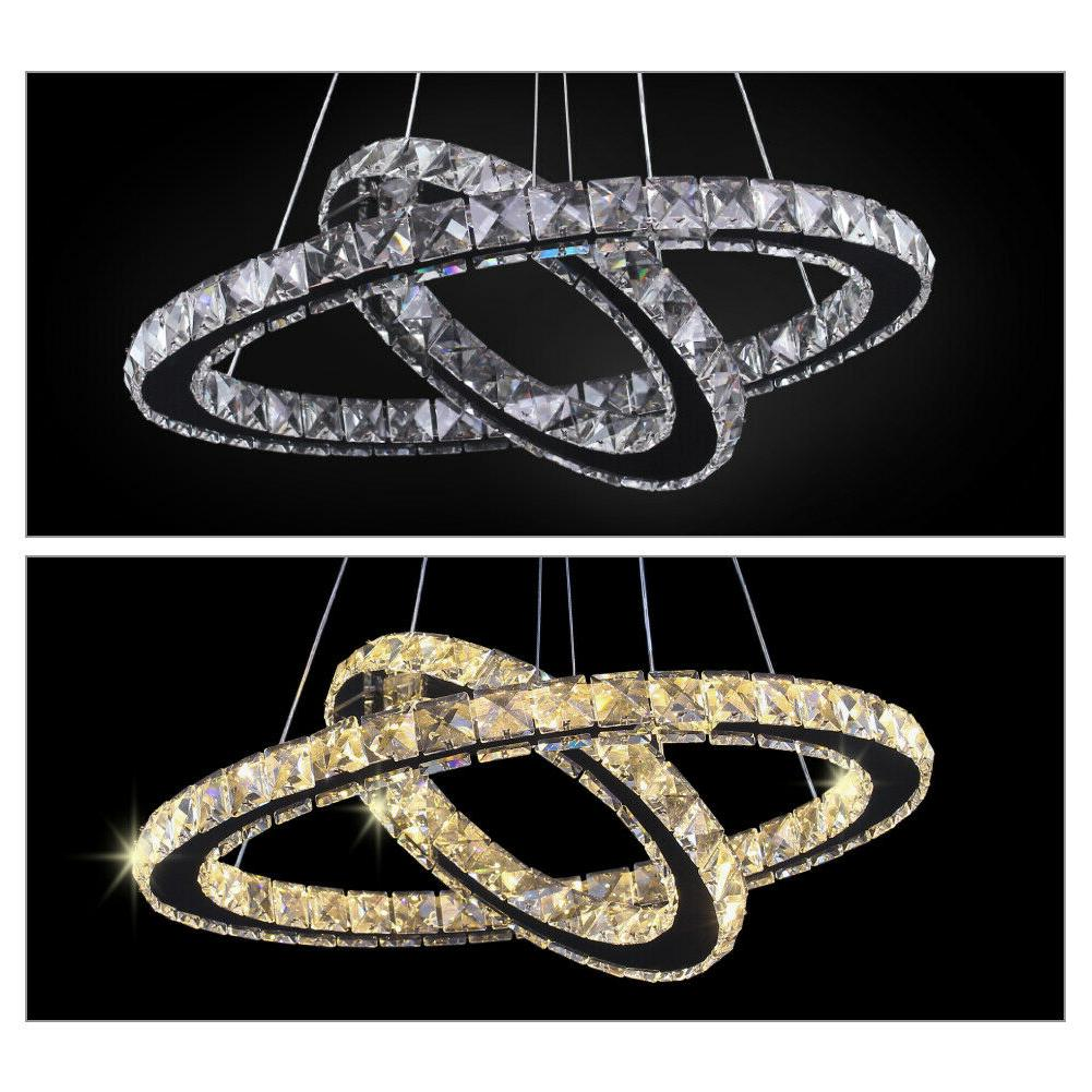 Modern LED Chandeliers Two Rings Pendant Round Ceiling
